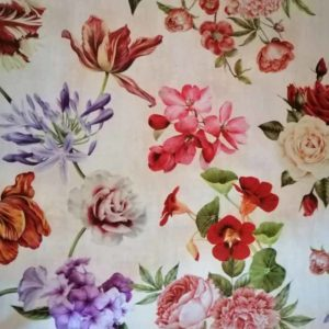 Meterware romantische Blumen aus Wachstuch