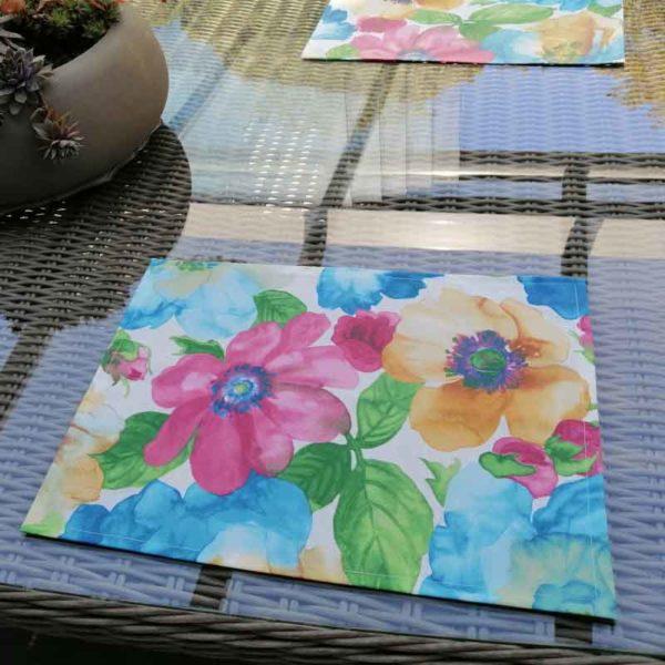 Platzset Bunte Blumen aus beschichteter Baumwolle
