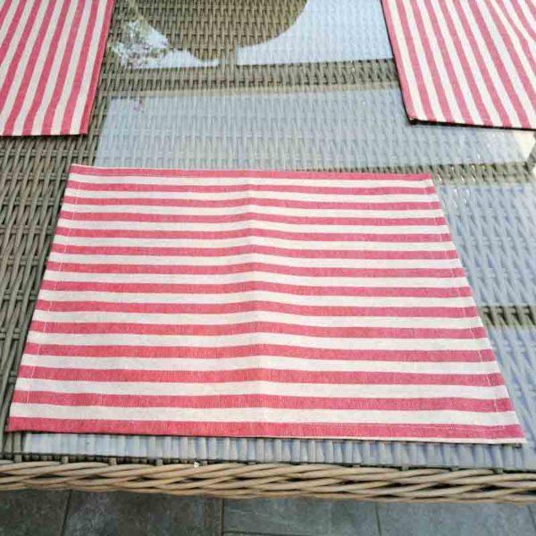 Platzsets rot gestreift (beschichtete Baumwolle)