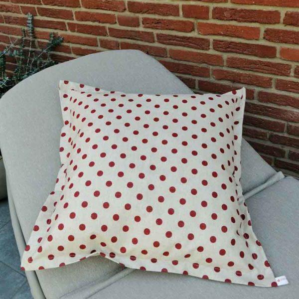 Wetterfeste Kissen für den Garten – Punkte rot 60x60cm