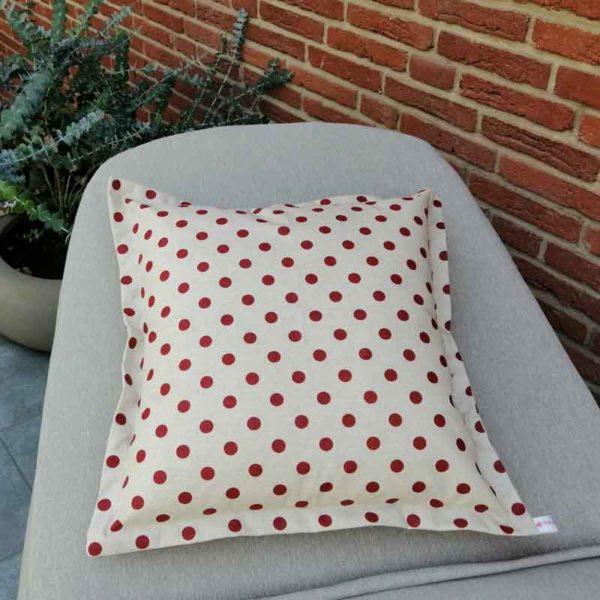 Wetterfeste Kissen für den Garten – Punkte rot 50x50cm