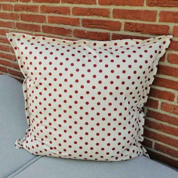 Wetterfeste Kissen für den Garten – Punkte rot 80x80cm