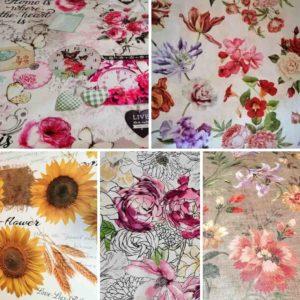 Mitteldecke mit Blumen (Wachstuch)