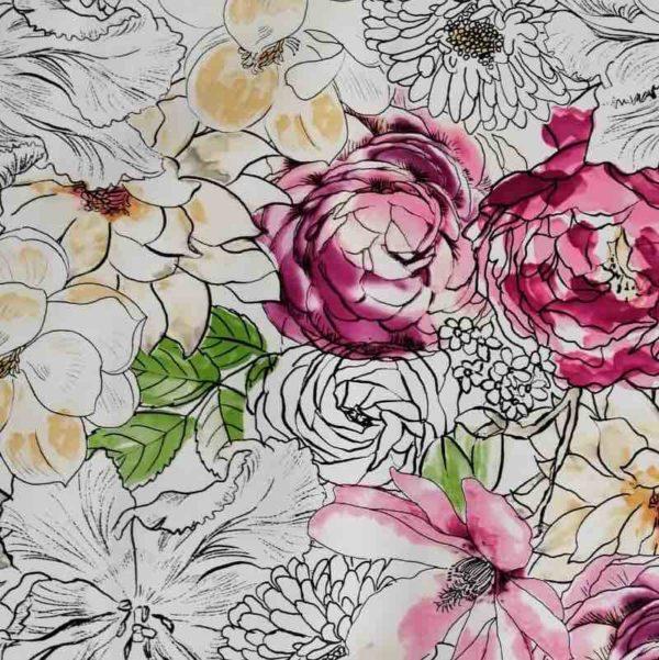 Mitteldecke mit Blumen (Wachstuch) - Blume Aquarell