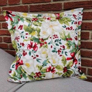 Kissenhülle mit Christrose aus beschichteter Baumwolle 50x50cm