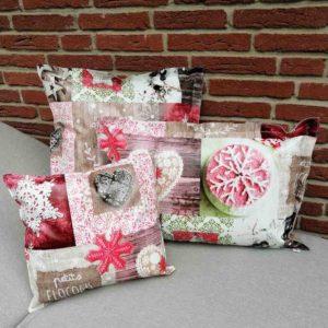 Outdoorkissen Weihnachten - Herzen & Sterne rot