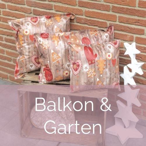 Weihnachtliche Tischware und Kissen für Balkon und Garten
