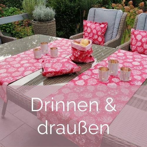Weihnachtliche Tischware und Kissen für Drinnen und Draußen