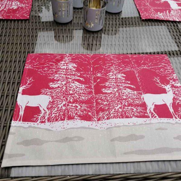 Tischset Hirsch im Schnee