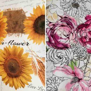 Wachstuch Meterware mit Blumen