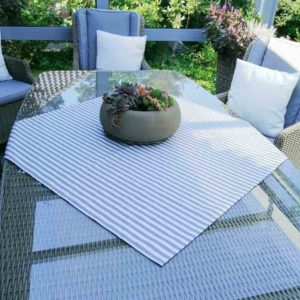 Tischdecke grau gestreift (beschichtet)