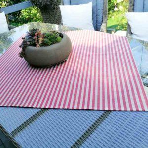 Tischdecke rot gestreift (beschichtete Baumwolle)
