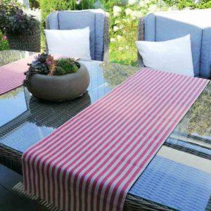 Tischläufer rot gestreift (beschichtete Baumwolle)