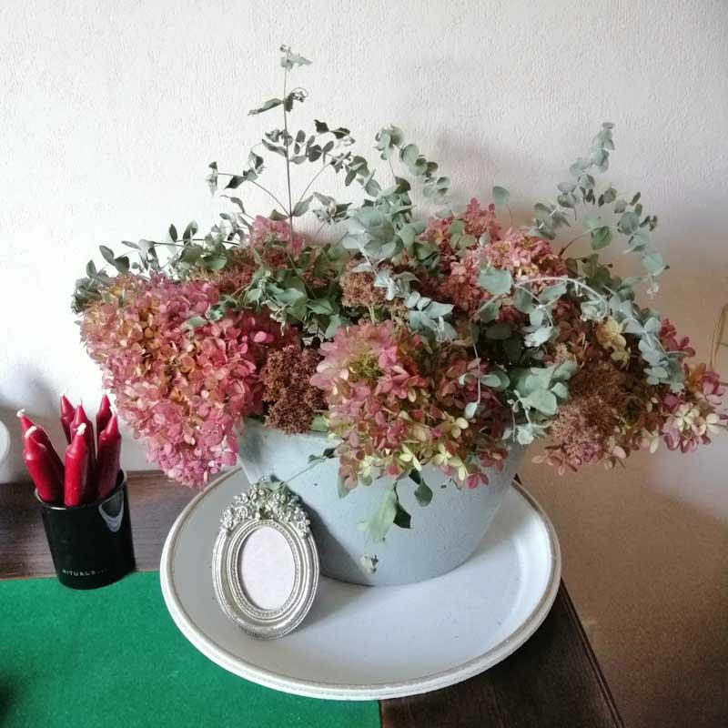 Deko mit Hortensien Vase