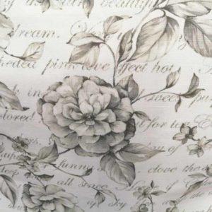 Stoff anthrazit & Blumen (beschichtet)