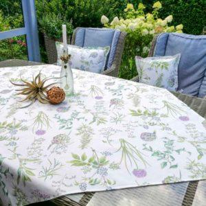 Tischdecke Outdoor: Artischocken & Gräser (beschichtet)