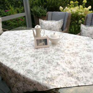 Tischdecke anthrazit & Blumen (beschichtet)