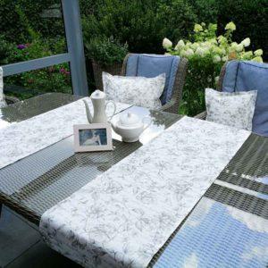 Tischläufer anthrazit & Blumen (beschichtet)