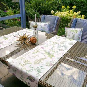 Tischläufer weiß: Artischocken & Gräser (beschichtet)