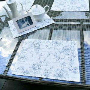 Tischset anthrazit & Blumen (beschichtet)