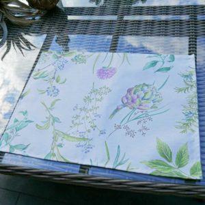 Tischset weiß mit Artischocken & Gräsern (beschichtet)