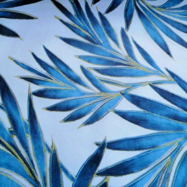 Wachstuch Tischdecke Blätter - Palmen blau