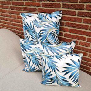 Kissen Palmen blau aus Wachstuch