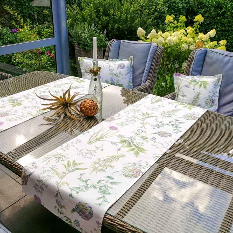 Outdoor Tischläufer aus beschichteter Baumwolle